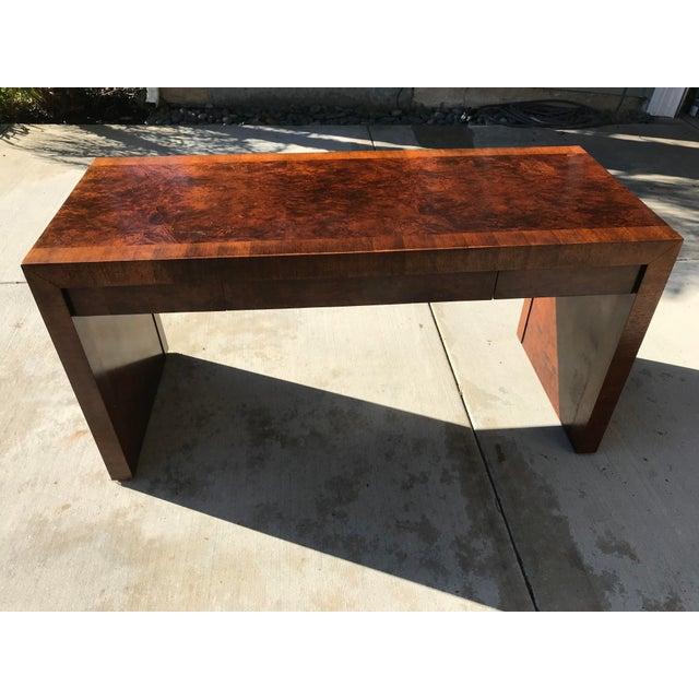 Burlwood Vintage Burl Wood Parsons Writing Desk by Hekman Furniture Company For Sale - Image 7 of 12