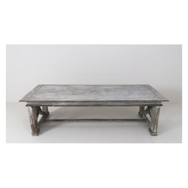 Italian 19th Century Large Tuscan Richly Carved Trestle Table For Sale - Image 3 of 11