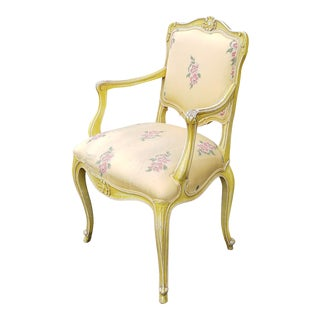 1960s Painted Yellow Worn French Louis XV Style Upholstered Armchair For Sale