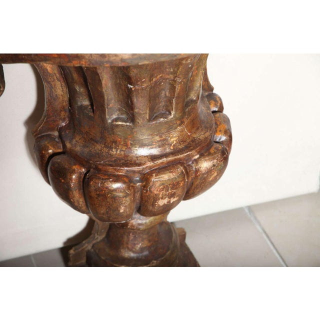 Gold Monumental Italian Neoclassic Giltwood Wall Urn For Sale - Image 8 of 9