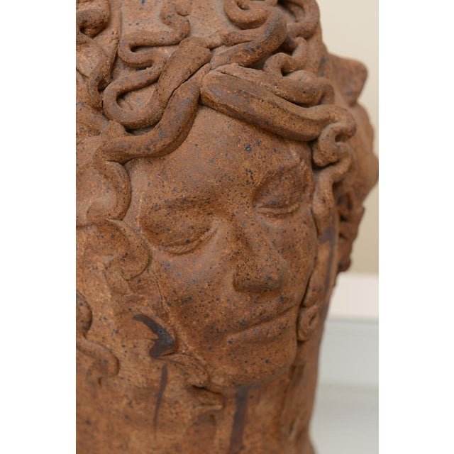 Hallmarked Unusual Medusa Head Studio Pottery Sculpted Lamp - Image 7 of 10