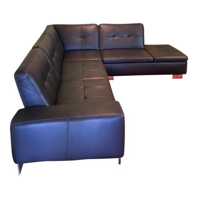 Scandinavian Design 2 Piece Black Leather Sectional Sofa - Image 1 of 6
