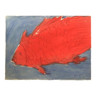 Original Vintage Robert Cooke Abstract Fish Painting 1970's Mid Century Modern For Sale