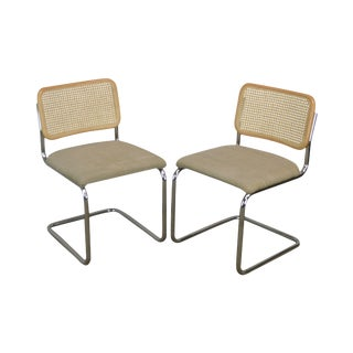 Marcel Brever Style Mid Century Modern Pair Chrome & Cane Cesca Dining Side Chairs (B) For Sale