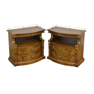 Karges Vintage French Louis XV Style Walnut Pair Nightstands For Sale