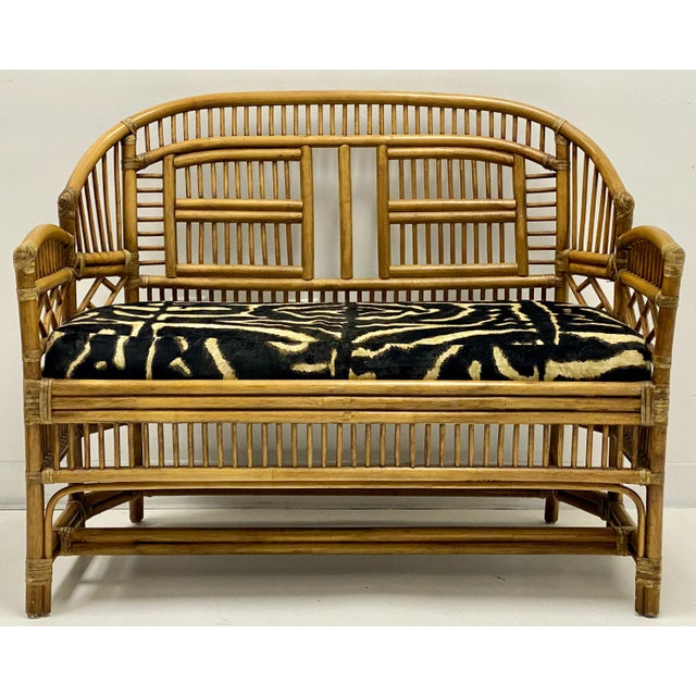 Vintage Bamboo Chinese Chippendale Style Settee in Ralph Lauren For Sale - Image 4 of 5