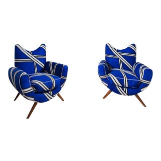 Italian Mid Century Lounge Chairs in the Manner of Jean Royere - A Pair For Sale