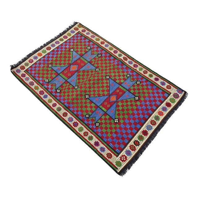 Turkish Hand Woven Wool Starry Jajim Mini Kilim Rug - 2′6″ X 3′9″ For Sale