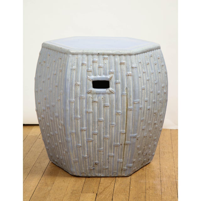 Ceramic Faux Bamboo Garden Stools - A Pair For Sale - Image 7 of 13