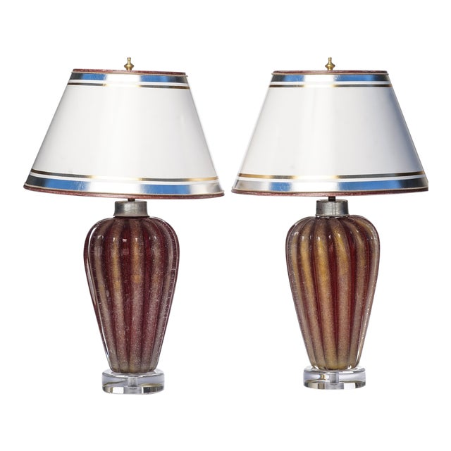 Italian Mid-Century Murano Lamps - a Pair For Sale