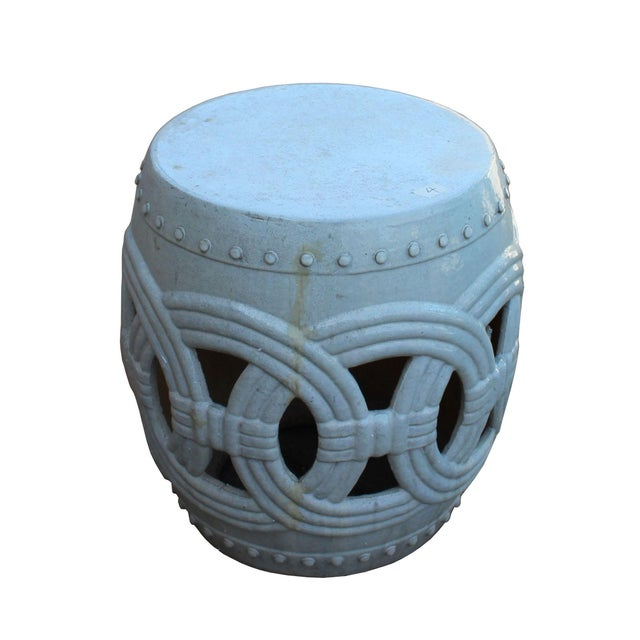 Chinese White Coin Pattern Round Clay Ceramic Garden Stool For Sale - Image 4 of 7