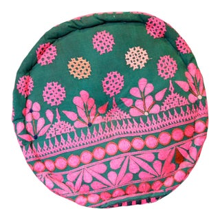 Green Embroidered Mathuravati Pouf For Sale