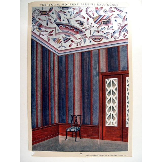 Antique Art Deco interior wall decoration in navy blue, aubergine, and metallic silver by Alphons Peerboom. Published in...