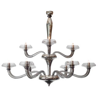 Modernist Murano Glass Pewter Chandelier For Sale