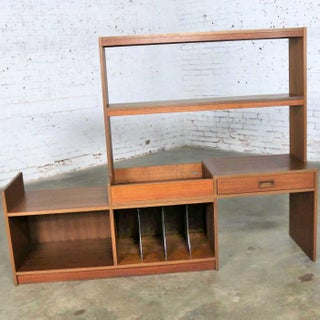 Mid Century Danish Modern Walnut Expanding Entertainment Bookcase Room Divider Preview