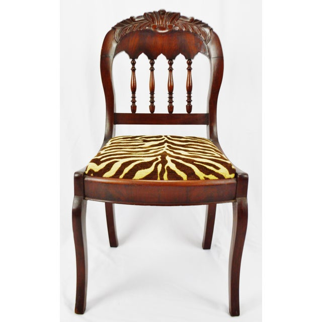 Vintage Victorian Style Side Chair With Animal Print Cushion For Sale - Image 13 of 13