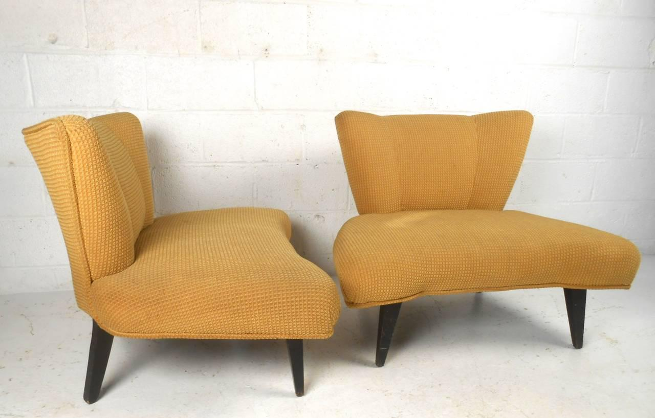 Marvelous Vintage Modern Slipper Chairs Attributed To Kroehler   A Pair   Image 5 Of  10