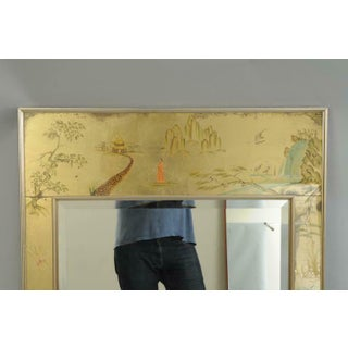 Labarge Chinoiserie Style Gold Églomisé Reverse Painted Wall Mirror, Signed Preview