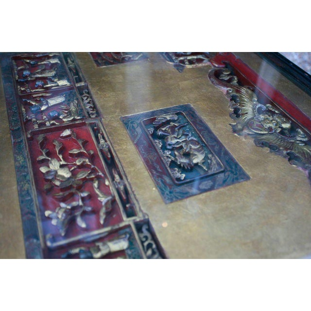 Chinese Screen Cocktail Table with Lacquer Base For Sale In Savannah - Image 6 of 6