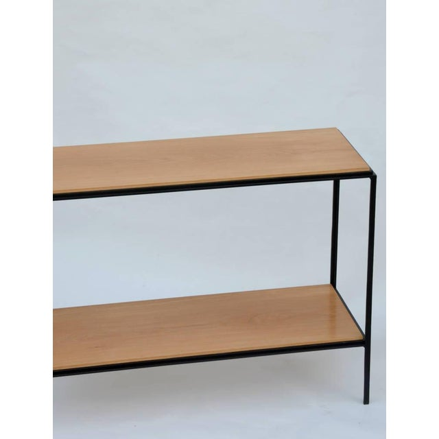 DESIGN FRERES Wrought Iron and Oak 'Rectiligne' End Tables by Design Frères - a Pair For Sale - Image 4 of 9