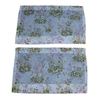 Vintage Pink White & Green Floral Sheer Window Curtains - a Pair