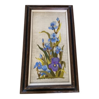 Vintage Framed Embroidered Bouquet of Irises For Sale