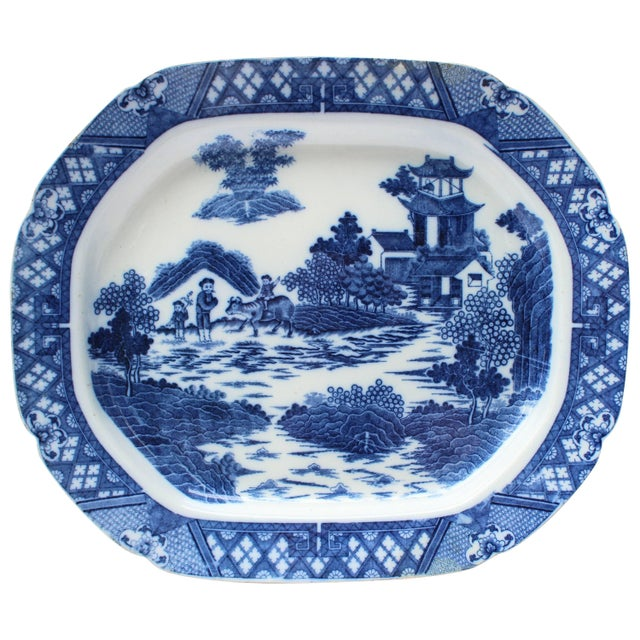 19th Century English Blue and White Transfer Ware Platter For Sale In New York - Image 6 of 6