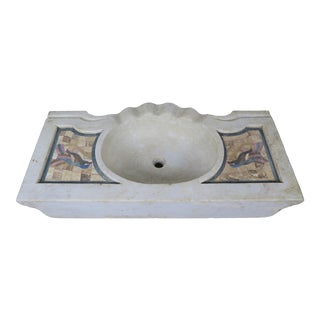 Early 20th Century Vintage Carrara Marble Sink For Sale