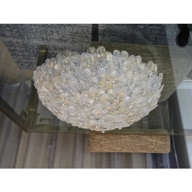 Floral Murano Glass & Brass Flush Mount For Sale - Image 13 of 13