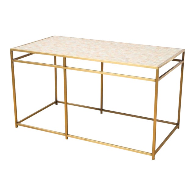 Brass Tile-Top Console Table For Sale