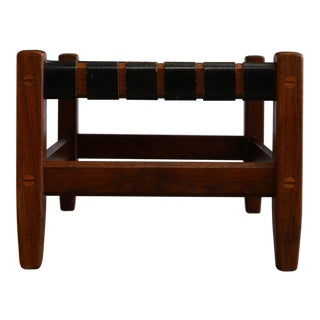 Mid-Century Modern Black Leather and Walnut Strap Stool For Sale