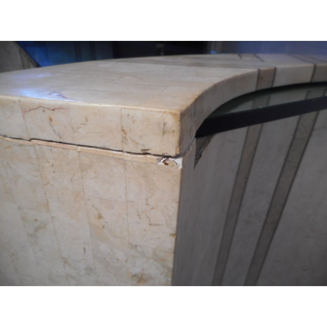 Vintage Modern Tessellated Marble and Glass Hall Table After Maitland-Smith For Sale - Image 9 of 12