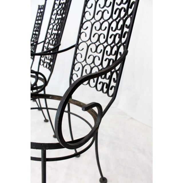Black Outdoor Set of Six Armchairs With Glass Top Table, Salterini Attributed For Sale - Image 8 of 10
