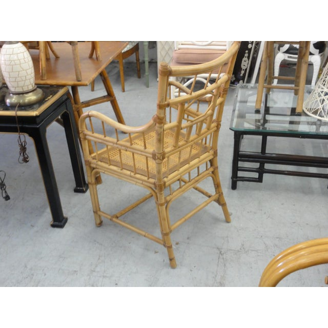 Vintage Geometric Bamboo & Cane Dining Chairs - Set of 8 For Sale - Image 10 of 12