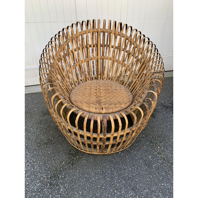 Boho Chic Franco Abini Style Rattan Bamboo Chair For Sale - Image 3 of 13