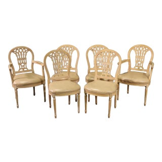 French Louis XVI Style White Washed Dining Chairs - Set of 6 For Sale