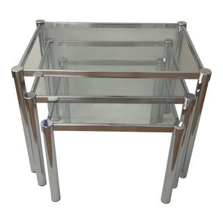 Milo Baughman Style Chrome and Glass Stacking Nesting Tables-Set of 3 For Sale