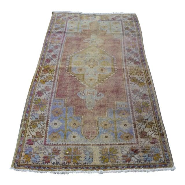 """Oushak Handmade Floor Carpet -- 3'7"""" x 6'7"""" For Sale"""