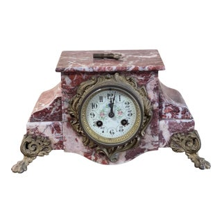 19th Century French Marble Mantle Clock For Sale