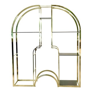 1970's Italian Brass & Glass Etagere Bookcase For Sale