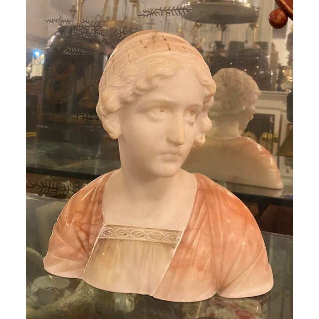 Antique Carved Italian Pink Alabaster Bust of Mignon by Prof. Giuseppe Bessi For Sale In Los Angeles - Image 6 of 6