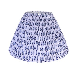 Blue Block Print Pleated Lamp Shade For Sale
