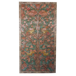 "Antique Hand Carved Kalpavriksha ""Tree of Dreams"" Relief Art Wall Sculptural Door Panel For Sale"