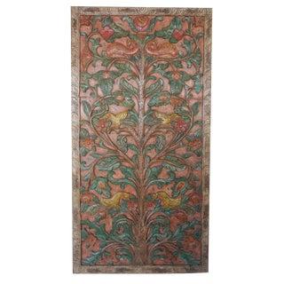 """Antique Hand Carved Kalpavriksha """"Tree of Dreams"""" Relief Art Wall Sculptural Door Panel"""