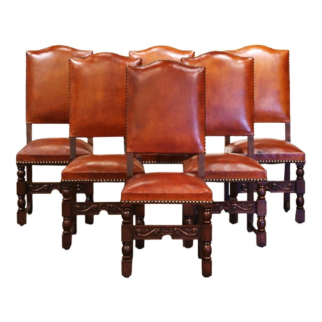 19th Century French Carved Oak and Tan Leather Dining Chairs - Set of Six For Sale