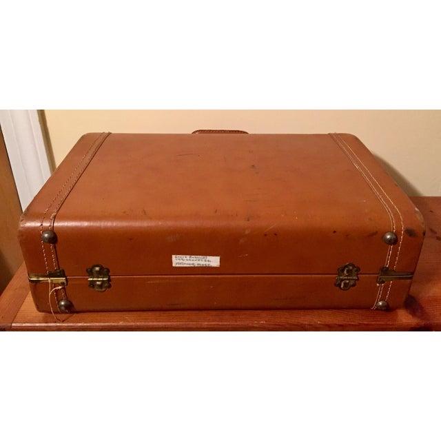 Vintage Cognac Leather Suitcase - Image 6 of 8