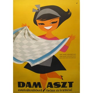 Original Hungarian Swinging 60's Tablecloth Poster For Sale