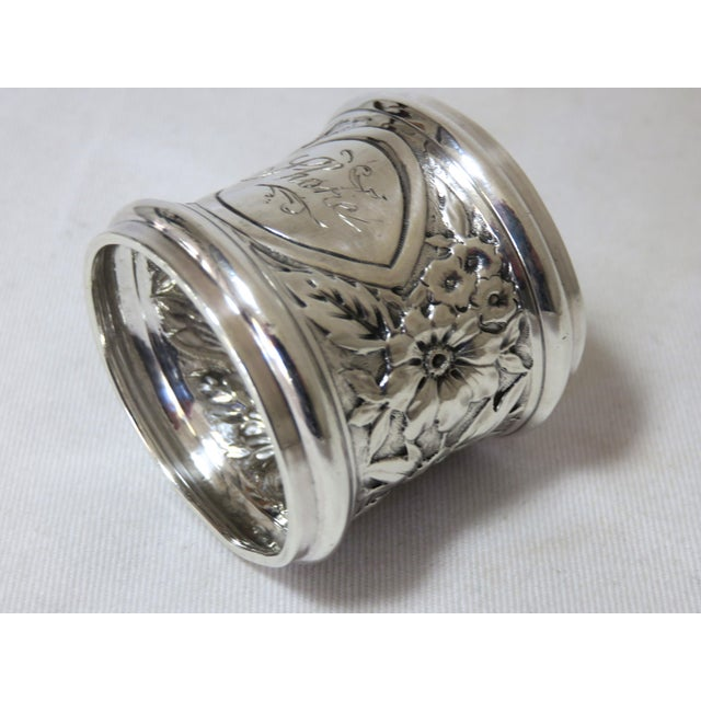 Gothic Antique Gorham Sterling Silver Napkin Ring For Sale - Image 3 of 6