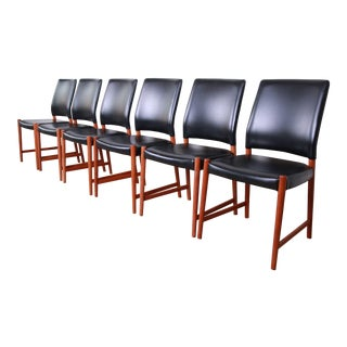 Torbjorn Afdal Teak and Black Leather Dining Chairs, Set of Six For Sale