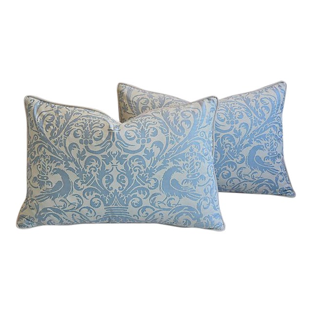 Custom Tailored Italian Fortuny Uccelli Feather/Down Pillows - A Pair For Sale